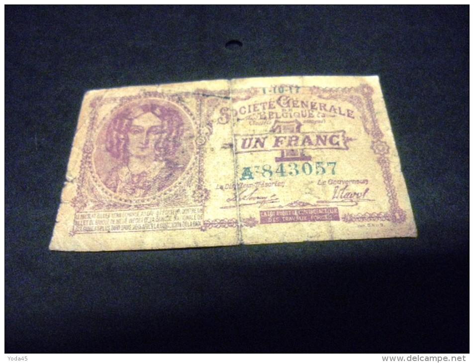 BELGIQUE 1 Franc 01/10/1917, Pick 86 B, BELGIUM - [ 2] 1831-... : Royaume De Belgique