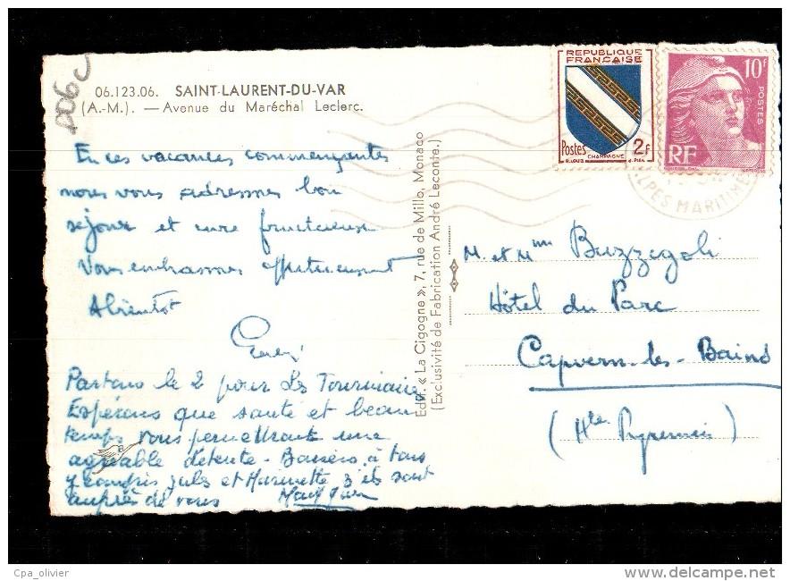 06 ST LAURENT DU VAR Avenue Maréchal Leclerc, Ed Cigogne 12306, CPSM 9x14, 1954 - Saint-Laurent-du-Var