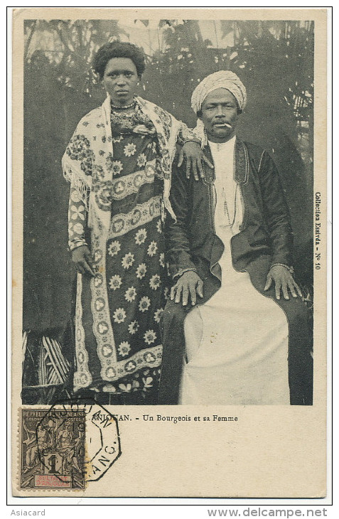 Comores Sultanat Anjouan Sultan Un Bourgeois Et Sa Femme Timbre Anjouan Avec Cachet Complaisance  Comoros Sultanate - Comores