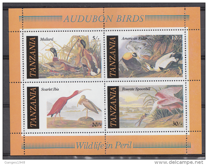 TANZANIA  Birds  Cranes  Ducks  Spoonbill  4v  Sheet MNH  #  64518 - Cranes And Other Gruiformes