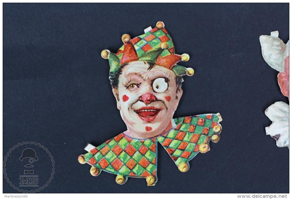 Old Set Of 3 Die Cut Trading Card/ Chromos Topic/ Theme - Clown Faces - Cromos Troquelados