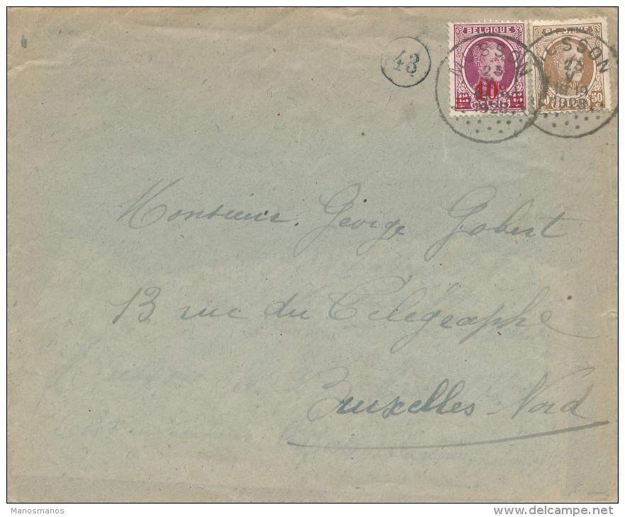 552/23 - La GAUME - Lettre TP Houyoux MUSSON 1928 Vers Bruxelles - 1922-1927 Houyoux