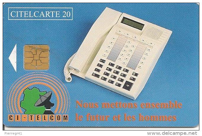 CARTE PUCE-COTE IVOIRE-CITELCARTE20-TELEPHONE-BLEU-TBE - Côte D'Ivoire