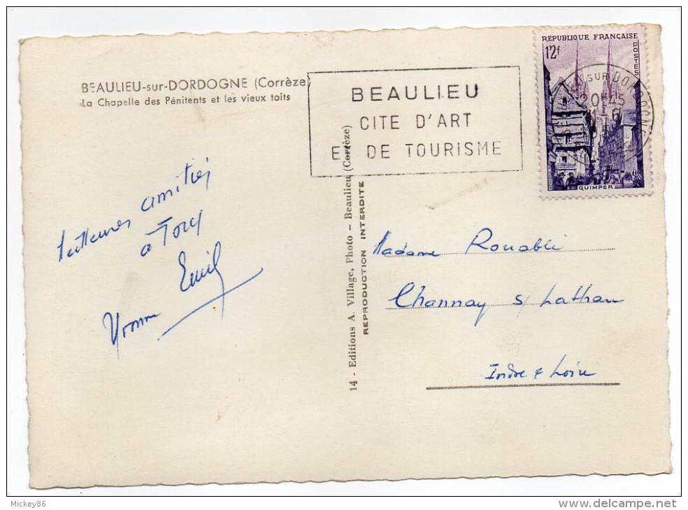 BEAULIEU-1954-Chapelle Des Pénitents Et Les Vieux Toits  Cpsm 15 X10 N°14  éd A.Village---carte Pas Courante - France