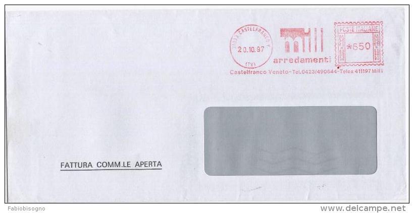 Castelfranco Veneto (Treviso) 20.10.1997 - MILL Arredamenti  - Affrancatura Meccanica EMA Meter Freistempel - Affrancature Meccaniche Rosse (EMA)
