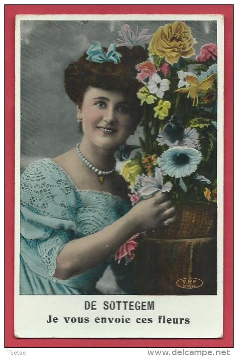 Zottegem - Je Vous Envoie Ces Fleurs ...- Wenskaart  -1900 ( Verso Zien ) - Zottegem