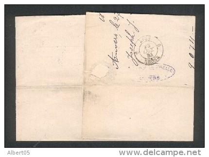 Timbre à Date Type A1 Paris Etranger Sur Lettre D'Anvers (Belgique) 28 Octobre 1884 - Cachet De Route Au Dos - Marcophilie (Lettres)