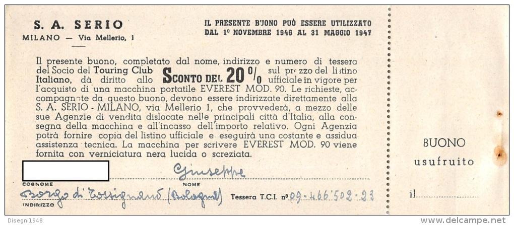 """03297 """"SERIO S. A. MILANO  - BUONO D'ACQUISTO CON SCONTI AI SOCI TOURING CLUB ITALIA 1946 / 1947"""". COUPON ORIGINALE. - Pubblicitari"""
