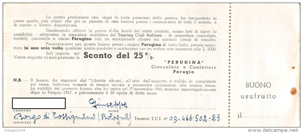 """03303 """"PERUGINA - BUONO D'ACQUISTO CON SCONTI A SOCI TOURING CLUB ITALIA 1946 / 1947"""". COUPON ORIGINALE. - Pubblicitari"""