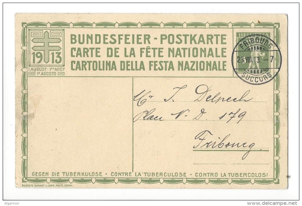 N22- Fête Nationale Bundesfeier Carte N°6  23.08.1913 Fribourg - Interi Postali