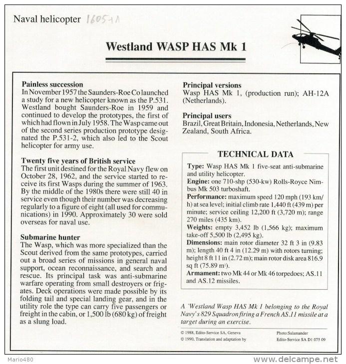 WESTLAND  WASP  HAS  MK  1     2 SCAN   (NUOVO CON DESCRIZIONE E SCHEDA TECNICA) - Elicotteri