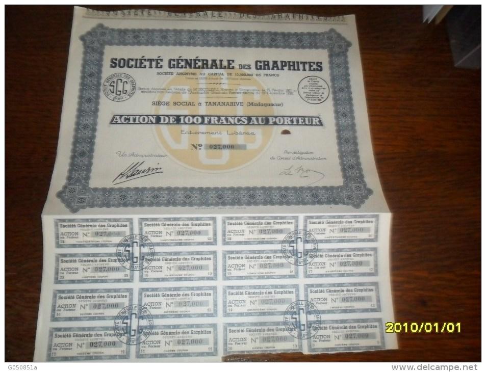 1931- ACTION De 100 Frs  (Soc/GENERALE Des GRAPHITES  ++COUPONS) MADAGASCAR - Afrique