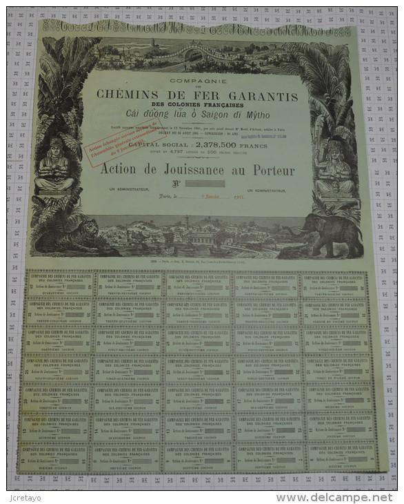 Cie Des Chemins De Fer Garantisdes Colonies Françaises: Cai Duong Lua O Saigon Di Mytho - Chemin De Fer & Tramway