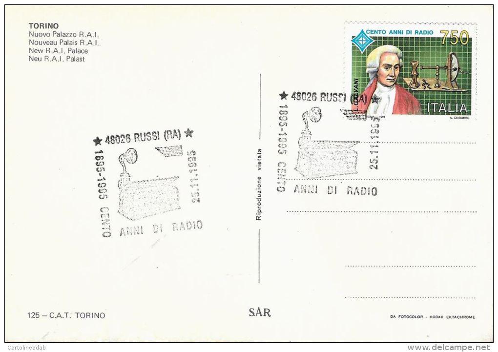 [DC5463] CARTOLINA - TORINO - PALAZZO RAI - 100 ANNI DI RADIO - ANIMATA - Con Annullo 25.11.1995 - Old Postcard - Italia