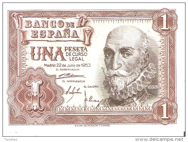 BILLETE DE 1 PTA DEL 22/07/1953 SERIE Z SIN CIRCULAR-UNCIRCULATED  (BANKNOTE) - [ 3] 1936-1975 : Régimen De Franco