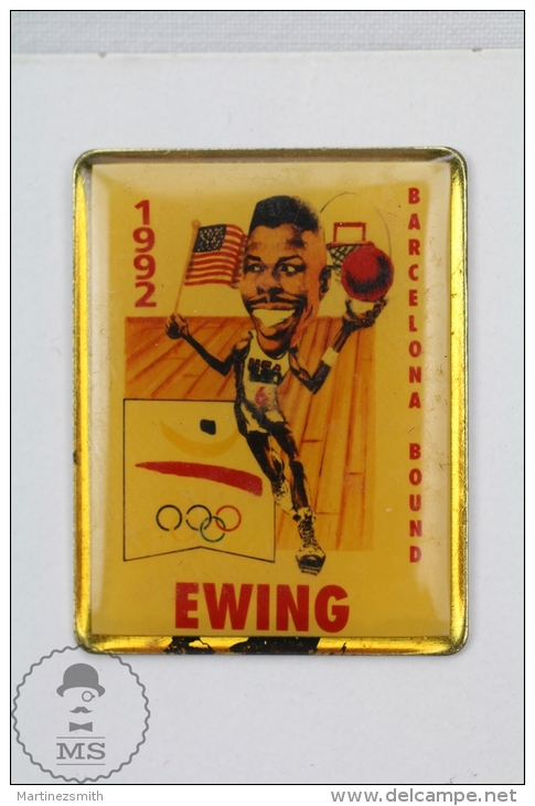 Basketball Player Caricature, Barcelona Bounda 1992 Olympic Games - Ewing - Pin Badge #PLS - Baloncesto