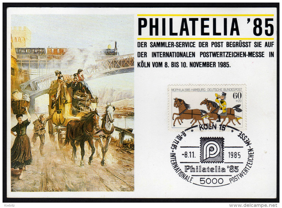 BRD 1985 - Philatelia 85 - Internationale Postwertzeichen Messe In Köln - Sonderstempelkarte - Post