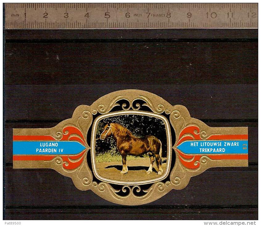 BAGUE DE CIGARE Grand Format 11,5 X 6 /LUGANO PAARDEN IV  N° 84  / CHEVAL De Trait Soviétique - Bagues De Cigares