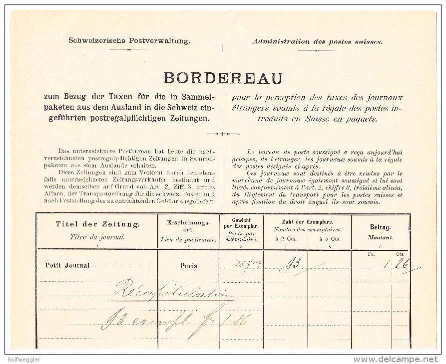 Schweiz Bordereau Postverwaltung Cortaillod 31.3.1898 Mit  Je 1Fr. 50 Und 30 Rp. Stehende Helvetia + 3 X 2Rp WZ - 1882-1906 Armoiries, Helvetia Debout & UPU