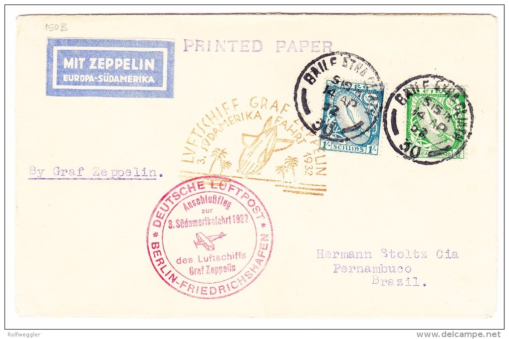 Irland - Zeppelin Südamerikafahrt 1932 LZ127 Brief Von Dublin 14.4.1932 Nach Pernambuco Via Berlin-Friedrichshafen - Poste Aérienne
