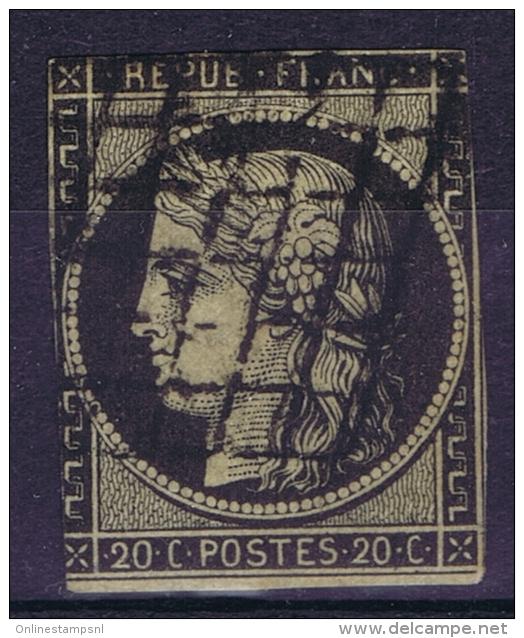 France: 1849 Yv Nr 3 B  Noir Sur Chamois Used Obl - 1849-1850 Cérès