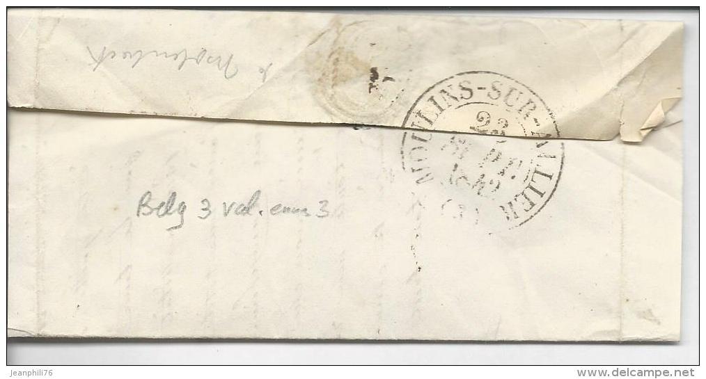 """De Bruxelles Pour Moulins Marque B.3.R Et Entrée Par Valenciennes  """"belgique 3 Val.nes 3"""" Sept 1842 - Postmark Collection (Covers)"""