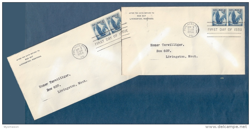 Pair Of First Day Covers Tied Together By Cancel - Scott #C48 - Flying Eagle [#2779] - First Day Covers (FDCs)