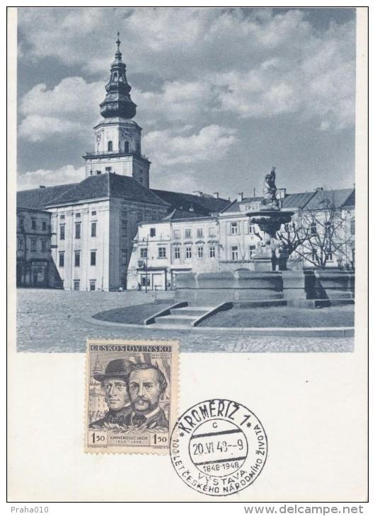J0127 - Czechoslovakia (1948) Kromeriz 1 (c): The Exhibition 100 Years Of Czech National Life (Palacky, Rieger) - Castles
