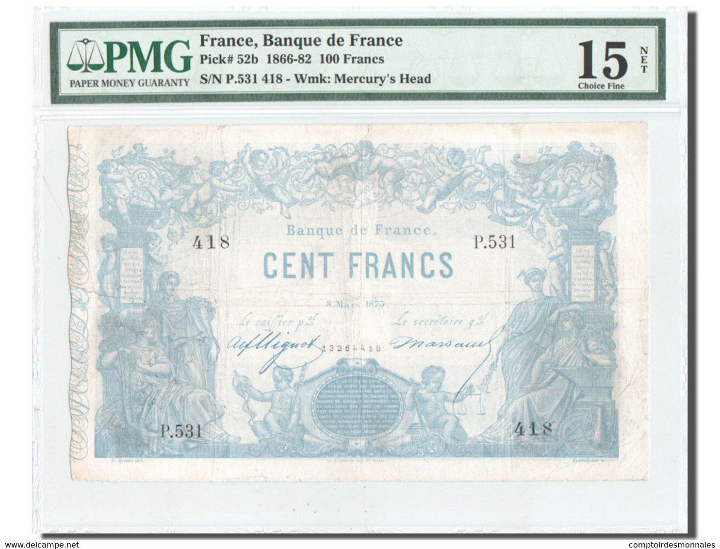 France, Indices Noirs, 100 Francs, 8.3.1875, KM:52b, PMG Ch F15 - ...-1889 Tijdens De XIXde In Omloop
