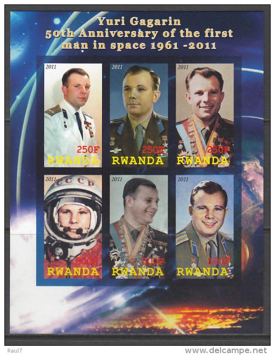 RWANDA 2011 - Yuri Gagarin - Feuillet De 6 Val ND Neuf // Mnh Imperforated - 1990-99: Neufs