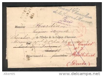 Cachet Grand Chancelier De La Légion D´Honneur - Retour Envoyeur 611 Sur Lettre Du 30 Août 1888 - Marcophilie (Lettres)