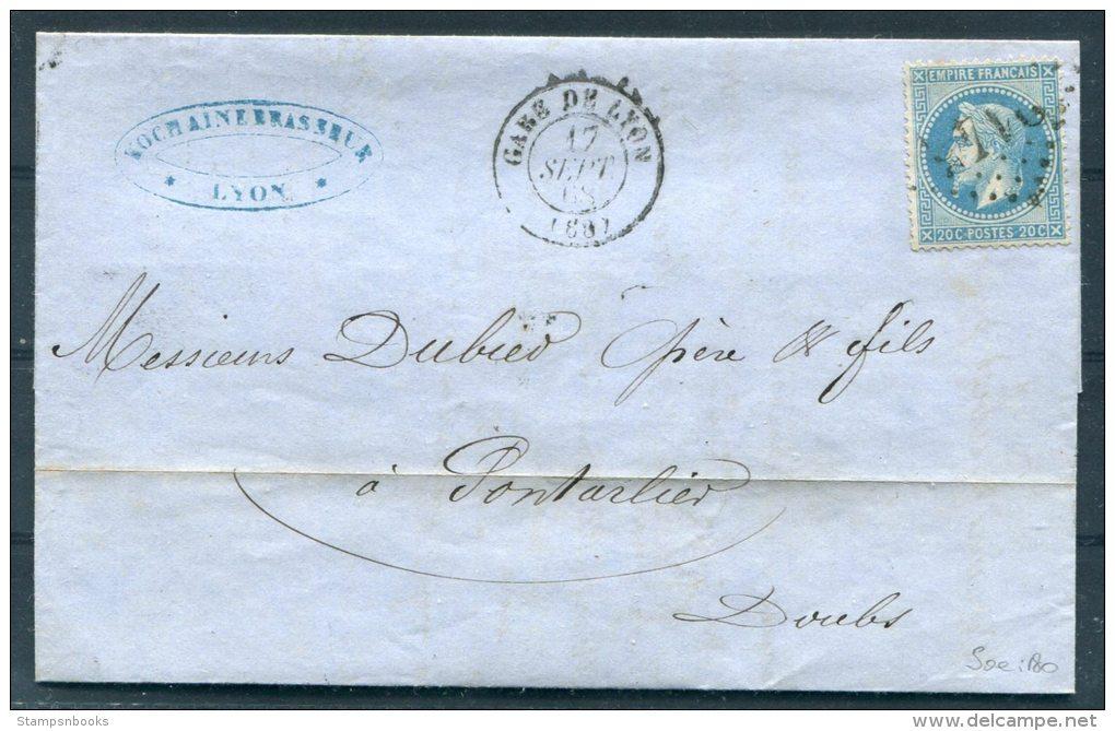 1868 France Gare De Lyon Brasserie De Kochaine Malterie Caves Glacieres Entire -  Pontarlier - Postmark Collection (Covers)