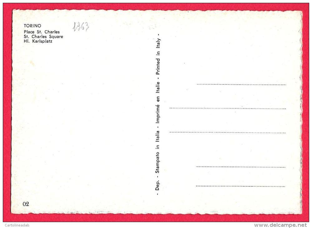 [DC5484] CARTOLINA - TORINO - PIAZZA SAN CARLO - AUTO - ANIMATA - Non Viaggiata - Old Postcard - Italia