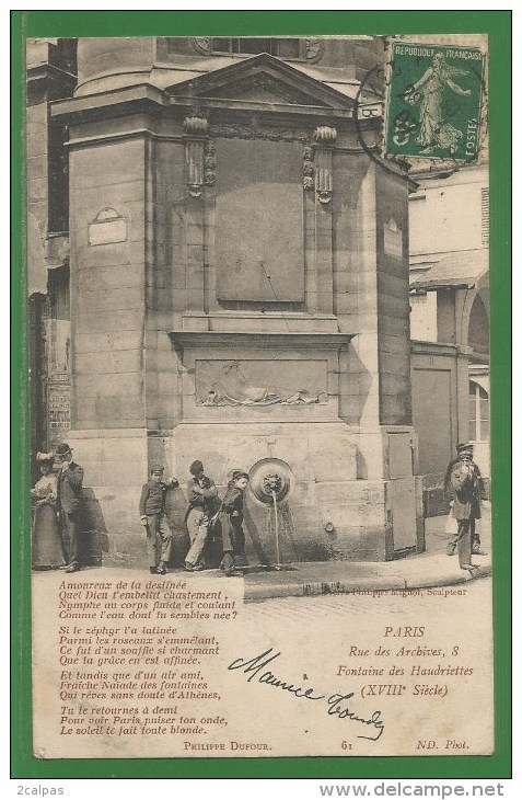75 - Paris - Rue Des Archives - Fontaine Des Haudriettes - Poeme De Philippe Dufour - Arrondissement  3 Ou 4 - Frankreich