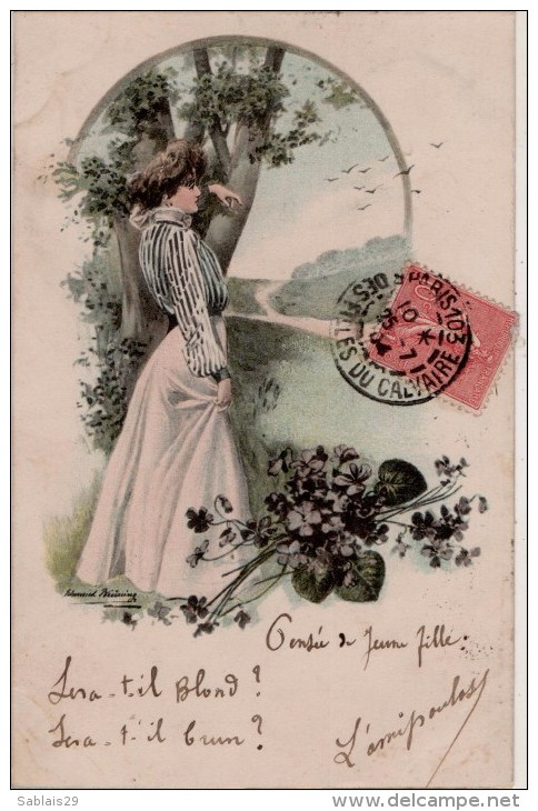 Edmond Bruning  Femmes  Fleurs - Illustrateurs & Photographes