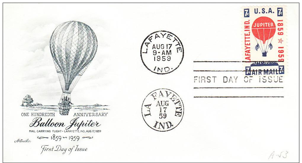 U.S.A. FDC 1959. CENTENARIO PRIMER CORREO AEREO POR GLOBO JUPITER EN INDIANA  .CN3182 - Montgolfier