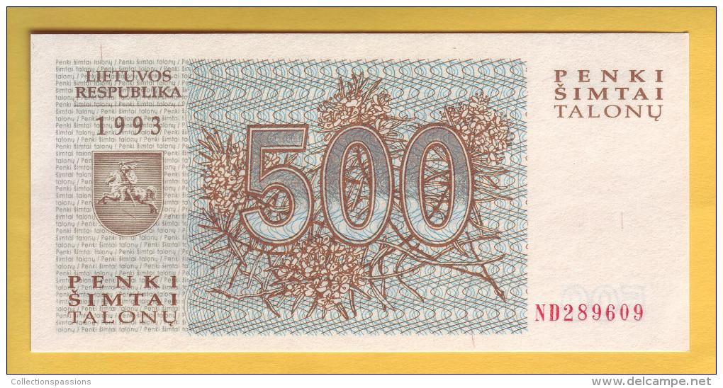 LITUANIE - Billet De 500 Talonu. (Loups). 1993. Pick: 46. NEUF - Lituania