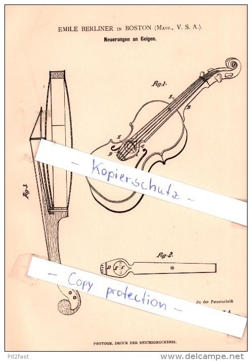 Original Patent - Emile Berliner In Boston , Mass., USA , 1881 , Neuerungen An Geigen , Geige , Violine !!! - Musikinstrumente