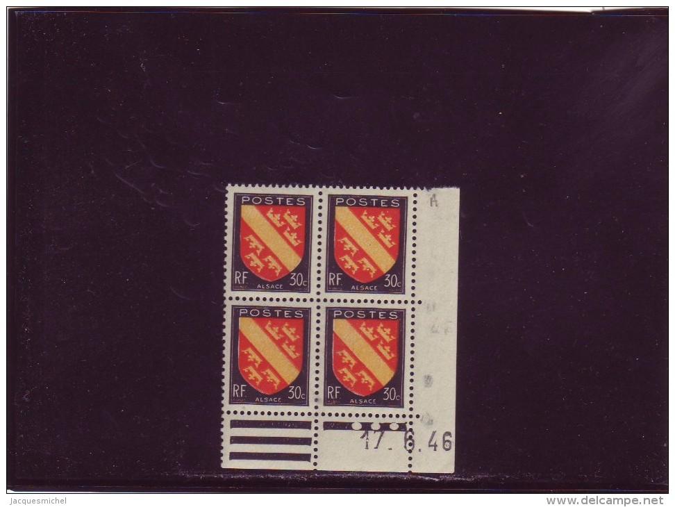 N° 756 - 30c Blason D'ALSACE - A De A+B - 1° Tirage Du 12.6.46 Au 18.6.46 - 17.06.1946 - - Dated Corners