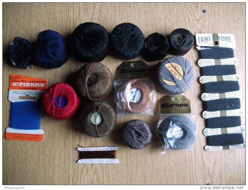 Occasion Ancien - Petit Lot De Bobines De Laine/coton à Repriser - Wool