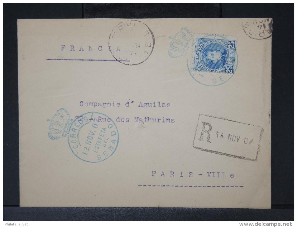 ESPAGNE- ENVELOPPE EN RECOMMANDE MADRID  OBL ESTAFETA SENADO 1907  POUR PARIS     A  VOIR LOT P3788 - Cartas