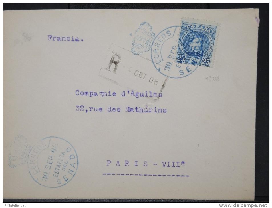 ESPAGNE- ENVELOPPE EN RECOMMANDE MADRID  OBL ESTAFETA SENADO 1908  POUR PARIS     A  VOIR LOT P3789 - Cartas