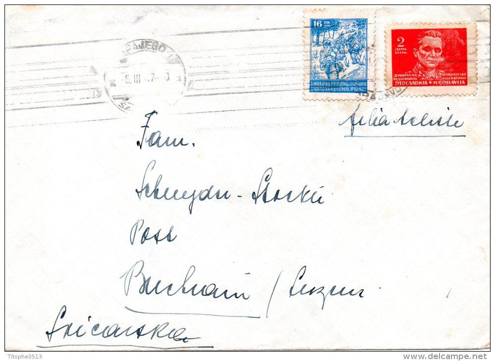 YOUGOSLAVIE. N°425 & 432 De 1945 Sur Enveloppe De 1947 à Destination De La Suisse. Tito/Partisans. - 1945-1992 République Fédérative Populaire De Yougoslavie