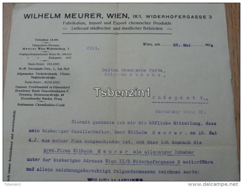 Wilhelm Meurer Wien Febrikation Chemischer Produkte 1924 - Austria
