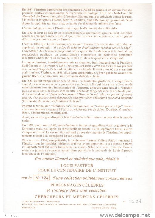 """FRANCE 1987 : Encart 1er Jour N°té / Soie Rare (1224/1500) Edit° A.M.I.S. : """" LOUIS PASTEUR """" N° YT 2496. Parf état. FDC - Louis Pasteur"""