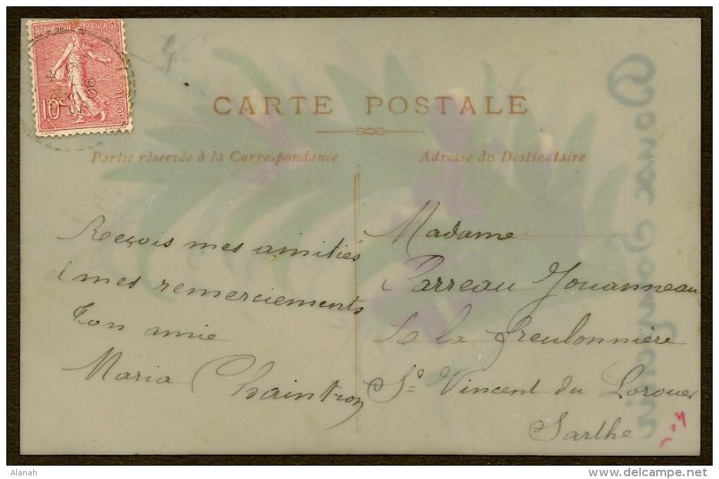 Carte Celluloïd Fleur Peinte Doux Souvenir - Cartes Postales