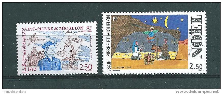 Timbres De St Pierre Et Miquelon  De 1992  N°570 Et 571  Neufs ** Prix De La Poste - St.Pierre & Miquelon