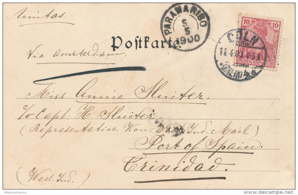 EB036 - SURINAME Incoming Mail - Carte- Vue TP Germania COLN 1900 Vers TRINIDAD Via PARAMARIBO - Suriname ... - 1975