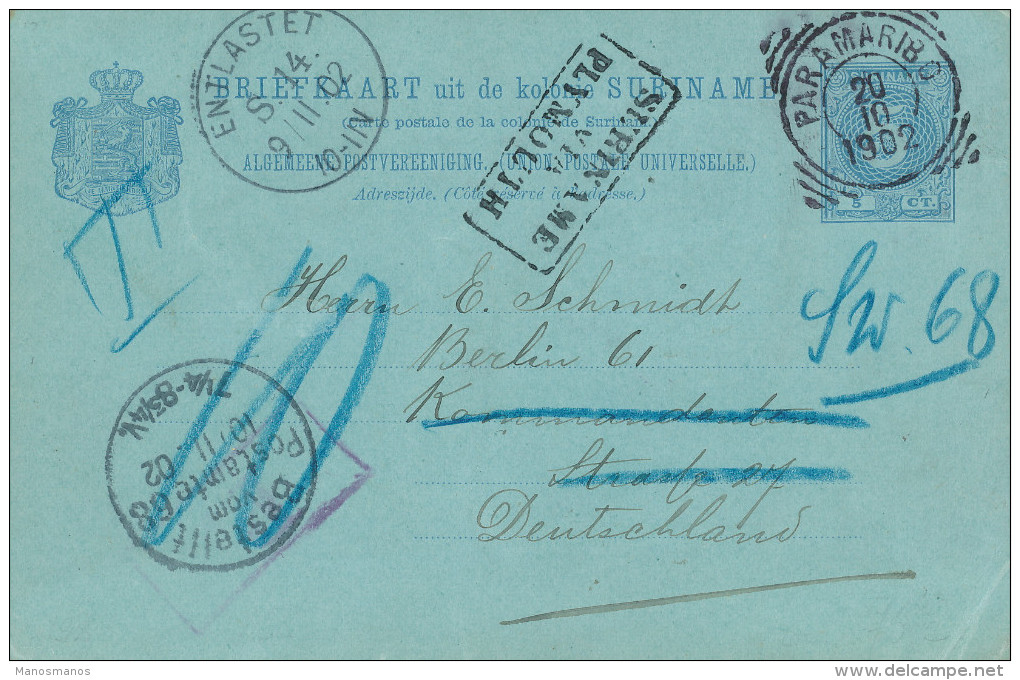 EB038 - SURINAME Entier Postal PARAMARIBO 1902 - RARE Taxé 10 Pfgs Vers Allemagne - SURINAME Via PLYMOUTH - Suriname ... - 1975