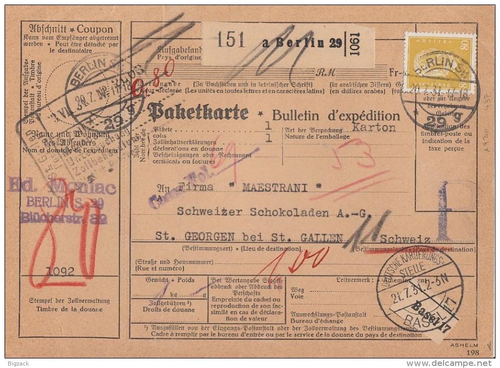 DR Paketkarte EF Minr.437 Berlin 20.7.31 Gel. In Schweiz - Briefe U. Dokumente